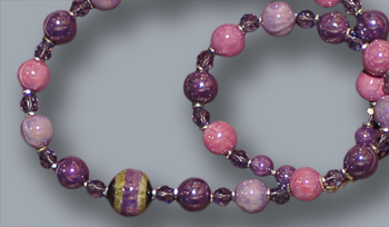 Amethyst, lilac, lavender, fancy beads, Swarovski; 18.5 inches long