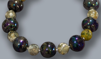 Black beads, wood fire agate; 18 inches long