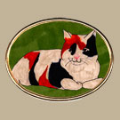 Tricolor Cat/Green Pin